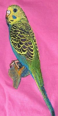 Embroidered Ladies Short-Sleeved T-Shirt - Green Budgie BT4637