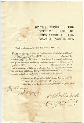 1805 New Jersey Supreme Court Commission Signed Andrew Kirkpatrick Chief Justice