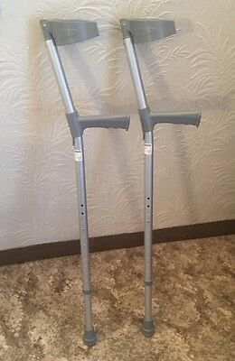 A Pair Of Coopers Adjustable Elbow Crutches with Handle COLLECTION BROMLEY