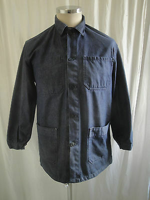 Vtg French indigo blue cotton denim chore work worker jacket