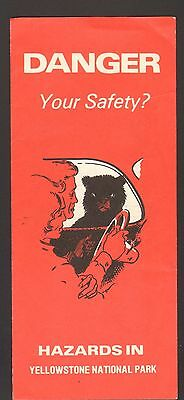 1980 Vacation Travel Brochure Danger Safety Hazards in Yellowstone National Park