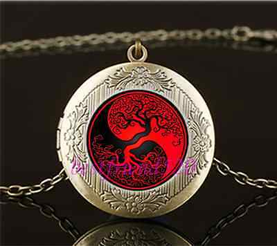 Vintage Ying Yang Tree Of Life Cabochon Glass Brass Locket Pendant Necklace