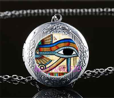 Egyptian EYE OF HORUS Cabochon Glass Tibet Silver Locket Pendant Necklace