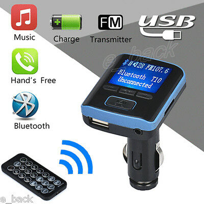 i6 Bluetooth Car Kit Handsfree FM Transmitter Dual LCD MP3 Player USB Charger