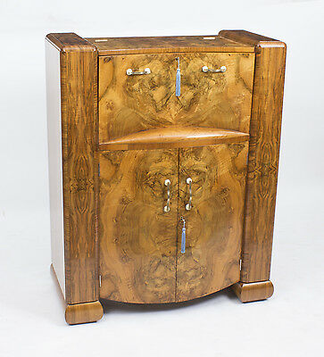 Antique Art Deco Burr Walnut Cocktail Cabinet Bar c.1930