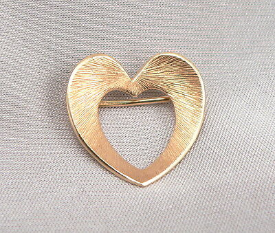 Vintage 14K Yellow GOLD Open HEART Pin Brooch KREMENTZ 2.7 Grams Estate