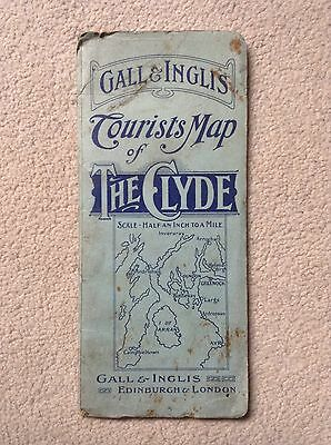Vintage Gall & Inglis Tourists Map of THE CLYDE