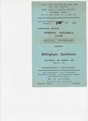 49/50 Penrith v Billingham Synthonia Northern League 18 3 1950