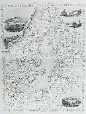 OLD ANTIQUE MAP BALTIC SEA by TALLIS SWEDEN FINLAND RUSSIA c1850's WITH VIEWS