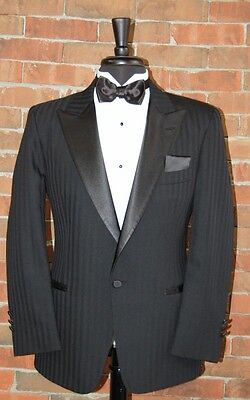 MENS 44 S CLASSIC 1 BUTTON BLACK PEAK COMPLETE TUXEDO SHADOW by CHRISTIAN DIOR