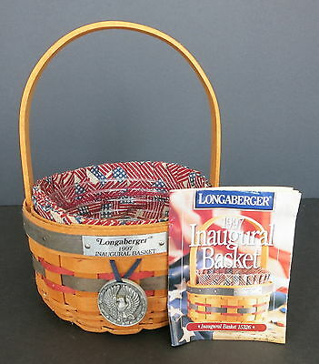 1997 Longaberger Inaugural Basket W/ Liner Protector & Pewter Tie On