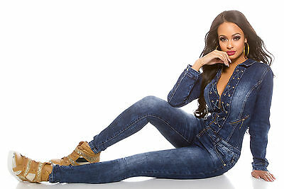 Rattenscharfer Overall Jeansoverall Schnürung Catsuit Denim blau Party S M L