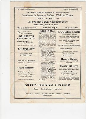 53/54 Letchworth Town v Epping Town Spartan League 27 4 1954