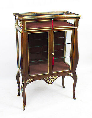 Antique French Walnut Bijouterie Display Cabinet C1880
