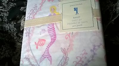 New Pottery Barn Kids Pink Bailey MERMAID Queen SHEETS coral