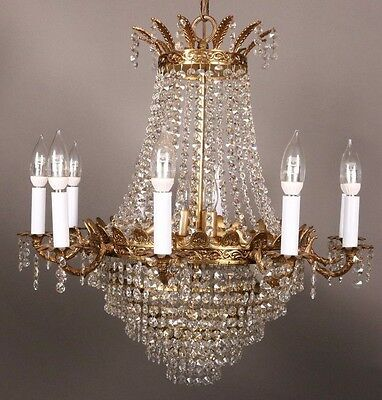 Vintage French Empire Crystal And Prism Chandelier