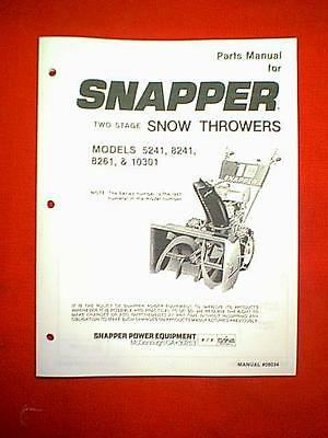 Snapper Two Stage Snowthrower Snowblower 5241 8241 8261 & 10301 Parts Manual