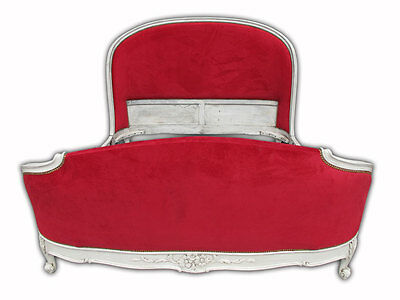 Amazing French Louis XV Bombey Carved  Upholstered Patinated Full Bed - 10772