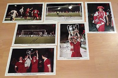 Lot Of 6 LIVERPOOL FC 1977 EUROPEAN CUP FINAL LARGE 15 X 10  PHOTO SIGNED