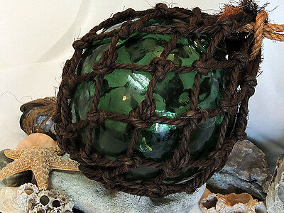 """18"""" In Circumference Japanese GLASS FISHING FLOAT Net, Olive Green,Water Inside"""