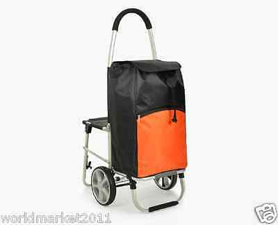 New Black + Orange Chair Two Wheels Collapsible Shopping Luggage Trolleys