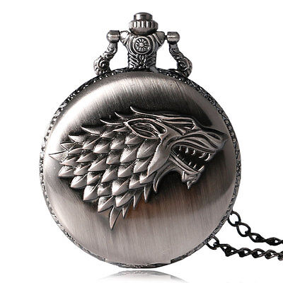 Vintage Retro Game of Thrones Stark House Cool Wolf Quartz Pocket Watch Men Gift