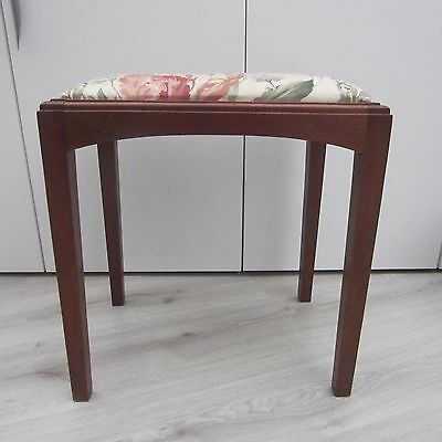 Vintage Wooden Piano Stool With Padded Seat