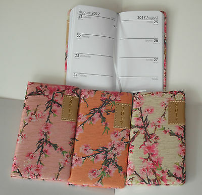 2017 Fabric Slim Diary Week to View.Blossom design, 3 colours.