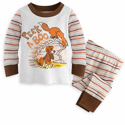 "Disney Store The Fox and The Hound ""Peek A Boo"" PJ Pals Pajama Set for Baby"