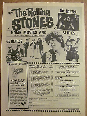 The Rolling Stones, Full Page Vintage Clipping, Home Movies Ad