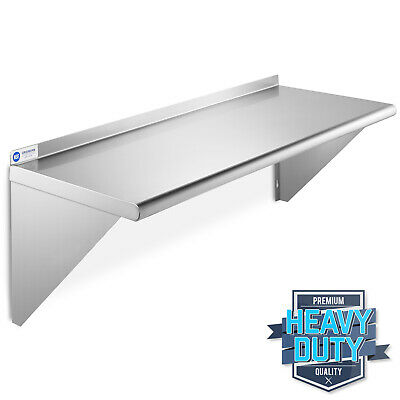 "Stainless Steel Commercial Kitchen Wall Shelf Restaurant Shelving - 18"" x 48"""
