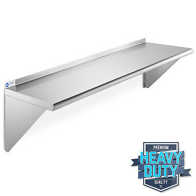 "Stainless Steel Commercial Kitchen Wall Shelf Restaurant Shelving - 12"" x 48"""