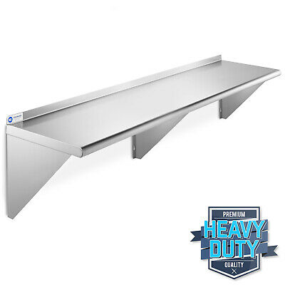 "Stainless Steel Commercial Kitchen Wall Shelf Restaurant Shelving - 14"" x 60"""