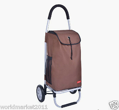 New Oxford Cloth Brown Pattern Two Wheels Collapsible Shopping Luggage Trolleys