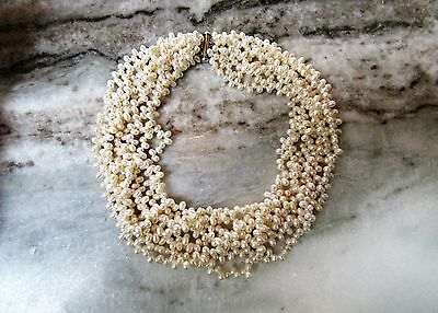 PEARL NECKLACE-Multi Strand Sterling Clasp Baroque- Real- Pearls