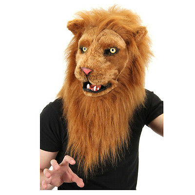 Deluxe Lion Furry Beast Animal Moving Mouth Costume Adult Halloween Mask