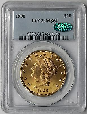 1900 Liberty Head Double Eagle Gold $20 MS 64 PCGS CAC Approved