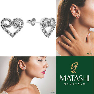 18K White Gold Plated Stud Earrings w/ 'Swirling Heart' & Crystals by Matashi