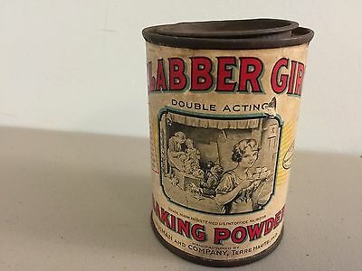 Antique Clabber Girl Baking Powder Tin Vintage Advertising Can Paper Label Lid