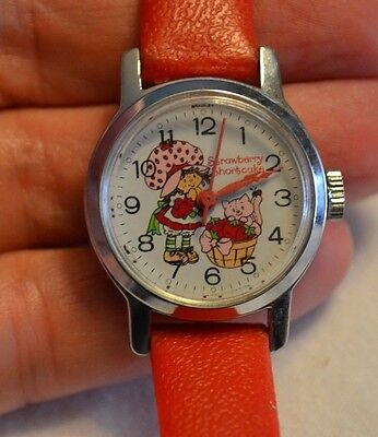 Vintage Wind Up Watch Strawberry Shortcake Red by Bradley Time Div.