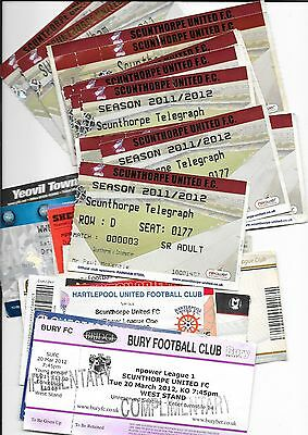 2011/12 Scunthorpe Tickets 20 Homes & 12 Aways Bury Colchester Preston Charlton