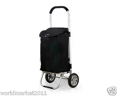 %H Convenient Black Pattern Two Wheels Collapsible Shopping Luggage Trolleys