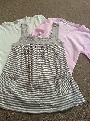 3 piece top set. long and short sleeved tops,pinafore vest 11-12 years