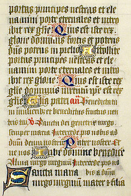 MEDIEVAL ILLUMINATED MANUSCRIPT BOOK OF HOURS LEAF c.1450 HYMN, PSALM 23, GOLD