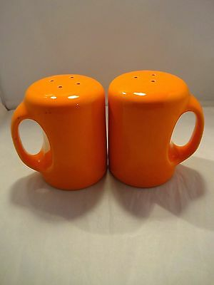 Vintage Orange Range Set Salt and Pepper Shakers - Large and with Handle
