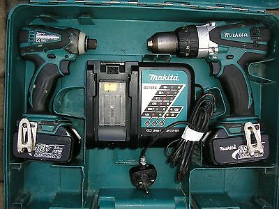 Makita 18 Volt Dtd146 Impact Driver And Dhp458 Hammer Drill Driver,twin Pac