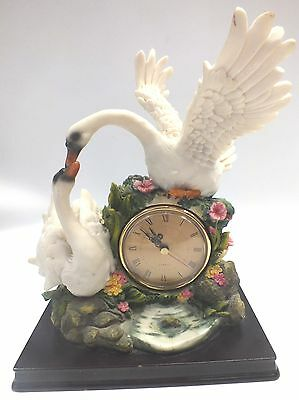 Vintage MANTLE CLOCK 28cm Tall Academy FIGURINE of 2 SWANS - S75
