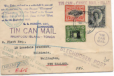 Tonga- Tin Can Mail cover to New Zealand
