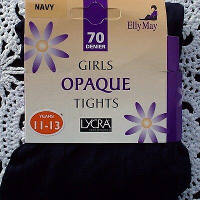 ELLY MAY 70 Denier Opaque Girls Tights - NAVY 11 - 13 Years