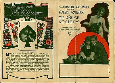 Rare 1915 Silent Movie Advertising Playbill The Sins of Society Robert Warrick